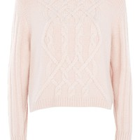 **Pink Cable Knit Round Neck | Topshop