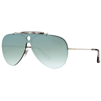 Ray Ban Blaze Shooter RB3581N 003/30 Silver Dark Green Mirror Aviator Sunglasses