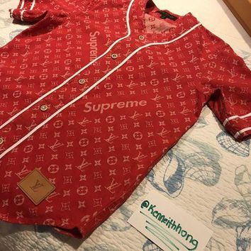 onetow One-nice? SUPREME x LOUIS VUITTON Monogram Red Denim Baseball Jersey Shirt XS - *IN HAND*