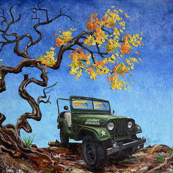 "Jeep Willys, M38A1, Army, 18"" x 24"" original oil painting, Jeep,1953, fathers day, gift, christmas, present, men, man, US Army Jeep"