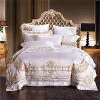 4/6/9Pcs Egypt cotton Luxury Royal Golden embroidery Bedding Set Queen King Size Duvet Cover Set Bed Sheet Pillowcases bed linen