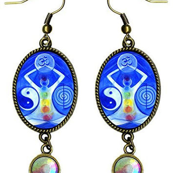 "Manifestation & Healing Symbols Chakra Reiki Ohm Antique Bronze Gold Iridescent Rhinestone Long 2 1/2"" Dangling Earrings"