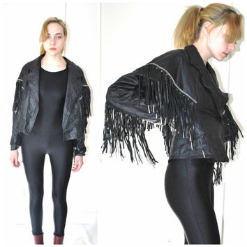 vintage FRINGE leather jacket 1980s 80s ROCKER chic small black leather motorcycle MOTO jacket small medium