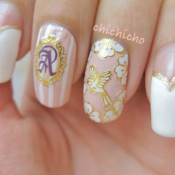 White Floral Bird Butterfly with Gold Lining, Frames, Bows, Chandeliers Nail Sticker Decal