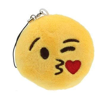 Cute Emoji Smiley Emoticon Throwing Kiss Key Chain Soft Toy Gift Pendant Bag Accessory
