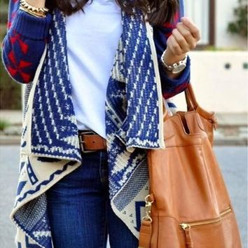 Navy Blue Geometric Print Aztec Bat Sleeve Turndown Collar Casual Cardigan