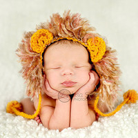 crochet newborn hat photography prop lion beanie
