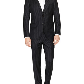 Martin Greenfield Men's Chalkstripe Chelsea Suit - Grey -