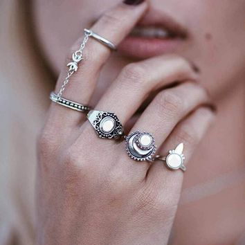 TOMTOSH New Fashion Boho National Style Jewelry Retro Bohemian Siamese Chain Mittens 4pcs/Set Rings Sun Moon Silver gold Ring