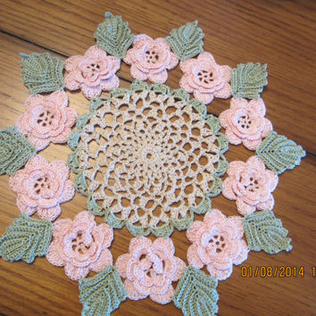Crocheted  Victorian Rose Doily - Light Pink with Frosty Green Leaves - 11 inches