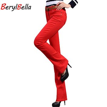 BerylBella 2017 Sweat Women Flare Pants Autumn Fashion Slim Cotton Candy Trousers Female White Ladies Mid Waist Pant Plus Size