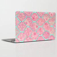 Moroccan Floral Lattice Arrangement in Pinks Laptop & iPad Skin by Micklyn