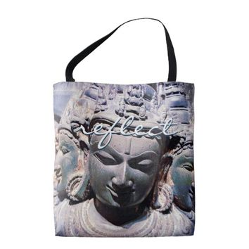 """Reflect"" quote stone faces statue photo tote bag"
