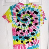 Tie-Dyed Rainbow T-Shirt with Creepy Crawlers (Size Small Adult Unisex)