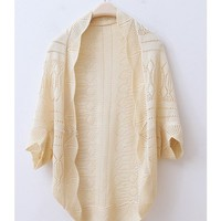 Fall Autumn New Style Ivory White Wraps Bat-Wing Sleeve Knitting Cute Loose Sweater One Size@WXM874i $7.99 only in eFexcity.com.