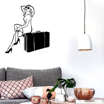 Wall Stickers Vinyl Decal Sexy Girl Travel Suitcase Tourist Vacation Unique Gift (ig1793)