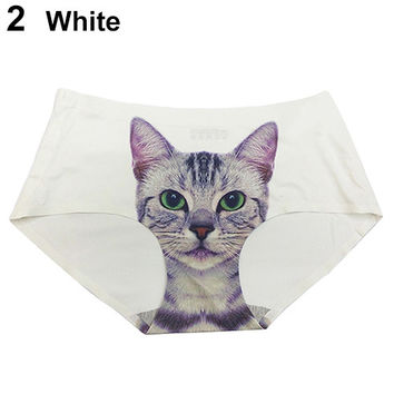 2015 Women Sexy Pussycat Panties Anti Emptied Cat Printing Seamless Briefs Underpants 6DMR