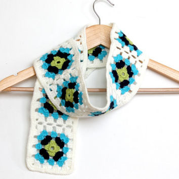 Granny Square Scarf / Emerald, Blue, White Colorful / Handmade Square scarf / Valentines day / Mother's Day Gift
