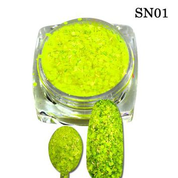 1g New Cheese Colorful Beauty Sequins Nail Art Tips Pigment Decorations Nail Powder Dust for Women DIY Nail Glitter SN01-08