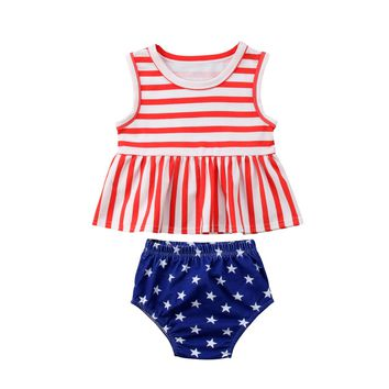 2018 USA Newborn Toddler Baby Girl Summer Striped Tank + Shorts Summer Stars Clothes Outfits Set