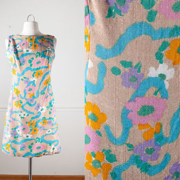 Vintage Mod Shift Dress | Psychedelic 60s Dress Mini Dress Daisy Floral Print Hippie Dress Boho Chic Prairie Romantic Groovy Scooter Gogo