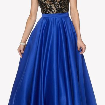 Royal Blue Sleeveless Floor Length Quinceanera Dress with Keyhole Back