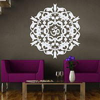 Mandala Wall Decal Yoga Studio Vinyl Sticker Decals Ornament Moroccan Pattern Namaste Lotus Flower Home Decor Boho Bohemian Bedroom NS1031