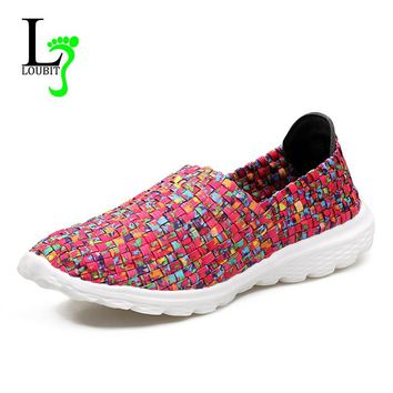 2017 New Women Flats Summer Casual Shoes Breathable Female Woven Shoes Slip On Ladies Loafers Flat Footwear Zapatos Mujer