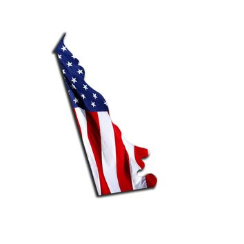 Delaware Waving USA American Flag. Patriotic Vinyl Sticker