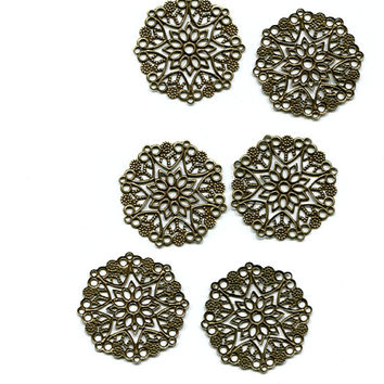 6 Bronze Tone Filigree Flower charms  Connector charms, pendants 35mm jewelry supply