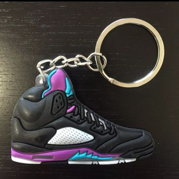 Jordan 5 Retro Grape Black Keychain