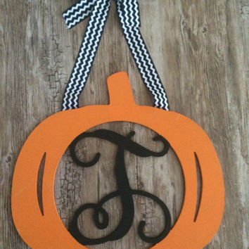 Custom Painted Halloween Pumpkin Thanksgiving Wood Wooden Fall Monogram Door Wreath Decoration Holiday Decor Gift Halloween Door Decor