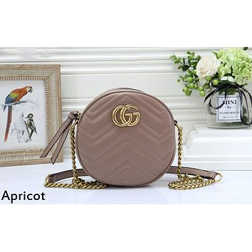 GUCCI tide brand female round chain bag shoulder Messenger bag apricot