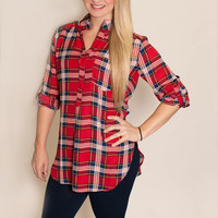 Plaid Blouse- Red