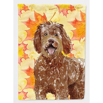 Fall Leaves Labradoodle Flag Garden Size CK1837GF