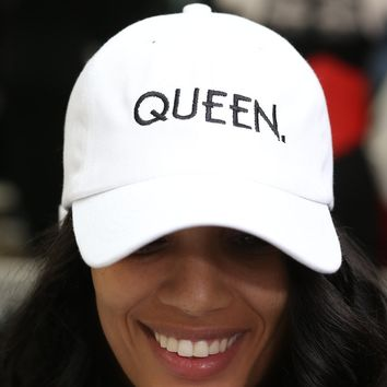 Queen polo dad hat, white
