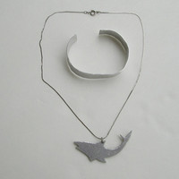 Aluminum Shark Whale Pendant Necklace Bracelet SET Unisex Figural Jewelry