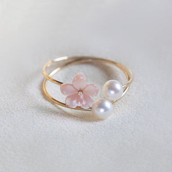 Real Natural Fresh Round Pearl 14K Gold Filled Ring Set, Sea Shell Flower Ring, Stackable Rings, Open Ring, Close Ring, pink and white
