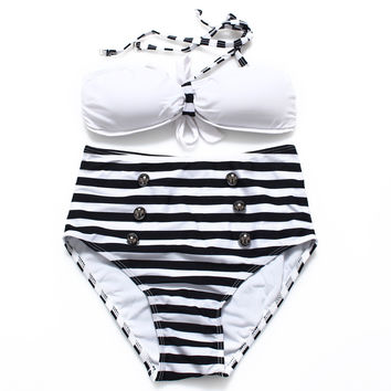 2016 High Waisted Fringe Bikini Set Swimwear Striped Monokini Swimsuit Bathing Suits Biquini Dropshipping 13602
