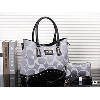 "Hot Sale ""COACH"" New Popular Leather Tote Handbag Shoulder Bag Two Piece Grey I-MYJSY-BB"