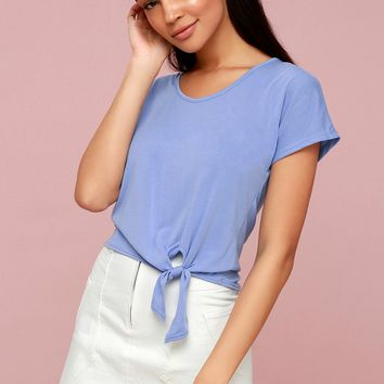 All Day Periwinkle Blue Tie-Front Tee