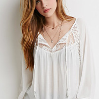 Embroidered Mesh-Paneled Peasant Top