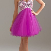 Night Moves by Allure 6410 Fuchsia Mini Dress Sz 0 to18 New Homecoming NWT