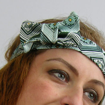 Headband hairbow women teenagers adjustable repurposed mens tie olive green aqua retro  therougett curationnation