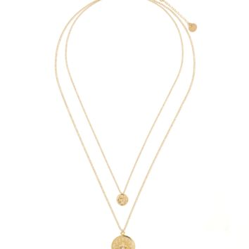 Simple Duo Coin + Cross Charm Layer Necklace
