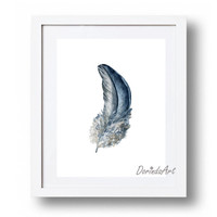 Blue feather print Navy Blue feather printable Watercolor feather Wall art Blue home decor Bohemian wall art DOWNLOAD 5x7 8x10 11x14 16x20