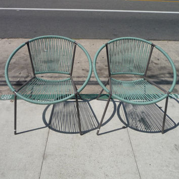 Pair Of Hoop Chairs Blue Hoop Chairs Outdoor Patio Furniture Mid Century  Modern Patio Furniture Patio