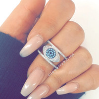 Evil eye double ring