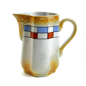 German Porcelain Pitcher Vintage Burnt Gold with Luxembourg Colors Red White Blue, Ceramic Chinaware Cream Tea, Coffee, Hot Chocolate Carafe