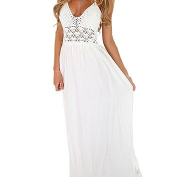 VIISHOW Women's Summer Beach Sexy Crochet Backless Bohemian Halter Maxi Long Dress (S, White)